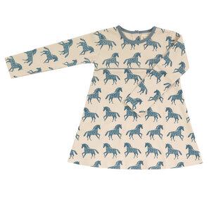 Kleid Langarm Organics for Kids Pigeon Skater Dress Pferde beige-marlin - Organcis for kids Pigeon