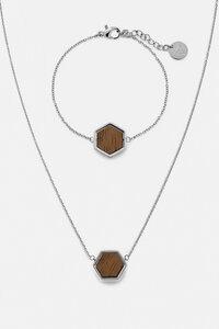 Schmuckset mit Holzelementen 'HEXA HALSKETTE & ARMBAND' - Kerbholz