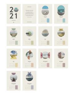 Kalender 2021, minimalistisches Design, A4, recycling Papier, nordische Meermomente - Waterkoog