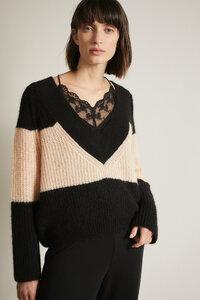 Colourblock-Pullover mit V-Ausschnitt aus Alpakawolle - LANIUS