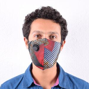 Afrikanische Kitenge Gesichtsmaske mit Atemventil und elastischen Ohrschlaufen - Africulture