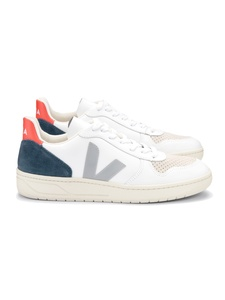 Sneaker Damen - V-10 Leather Extra White Oxford Grey Orange Fluo - Veja