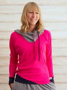 """Damen Pullover aus Bio Baumwolle Jersey mit Kapuze """"Marmota"""" pink / dunkelrot / schwarz - Lori"""