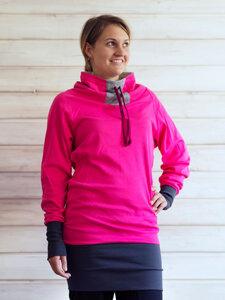 "Damen Pullikleid aus Bio Baumwolle Jersey ""Testuda"" pink / dunkelrot / schwarz - Lori"