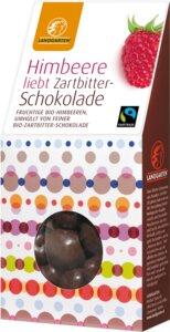Bio Naschfrüchte Himbeere liebt Zartbitterschokolade  - Landgarten
