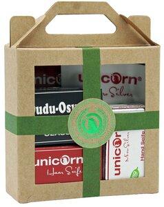 Mini Geschenkset Bio Haarseife, Haarspülung, Dudu Osun Seife und Micro Silber Handpflege - Unicorn
