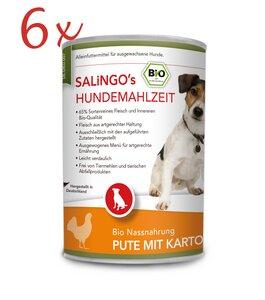 Bio-Hundefutter: Pute mit Kartoffeln und Spinat - Vorteilspack 6 x 400 g (DE-ÖKO-007)  - SALINGO