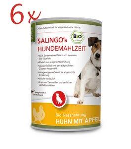 Bio-Hundefutter: Huhn mit Apfel, Kürbis & Zucchini - Vorteilspack 6 x 400 g (DE-ÖKO-007)  - SALINGO