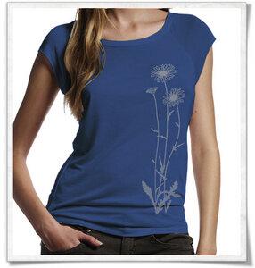 Blumen T-Shirt aus Bambus / T-Shirt / Denim Blau - Picopoc
