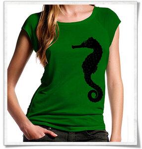Seepferdchen Bambus T-Shirt in grün - Picopoc