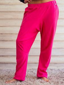 """Damen Hose aus Bio Baumwolle Jersey """"Manati"""" sehr weit und lang, pink / schwarz - Lori"""