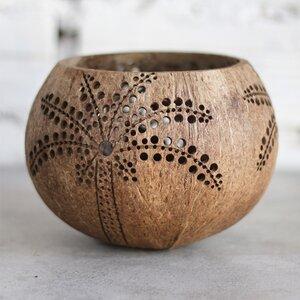 Kerzenhalter aus Kokosnuss Motiv Palme - Balu Bowls