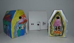 Hexenhaus mit 3 Papphäusern  - Papp à la papp