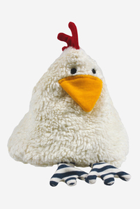 Bio Kirschkernkissen mit herausnehmbarem Kirschkernsack Huhn Erna weiß 27 cm - Lana naturalwear