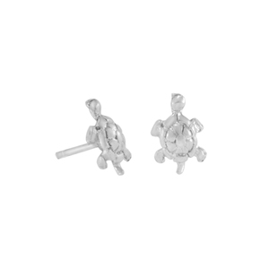 Ohrringe Silber Schildkröte minimalistisch handmade dezent Fair-Trade - pakilia