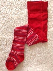 Kinder Strumpfhose mit Schurwolle rot mit Ringel - grödo