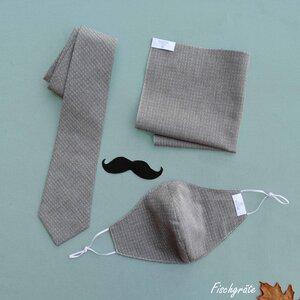 Geschenk-Set: Gentleman (Mund-Nasenschutz, Krawatte, Stecktuch) - Atelier SNOW