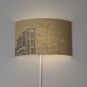 Wandleuchte Perlbohne N°25 aus Kaffeesack mit Textilkabel, Schalter und Stecker - lumbono
