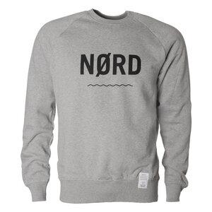 "Sweatshirt ""NØRD"", grau meliert, schwarzer Print, Biobaumwolle - Waterkoog"