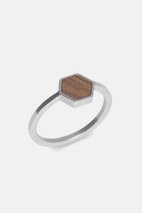 Ring mit Holzelement 'HEXA RING' - Kerbholz
