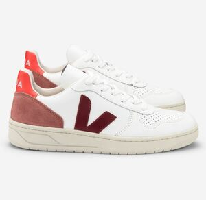 Sneaker Damen - V-10 Leather - Extra White Marsala Orange Fluo - Veja