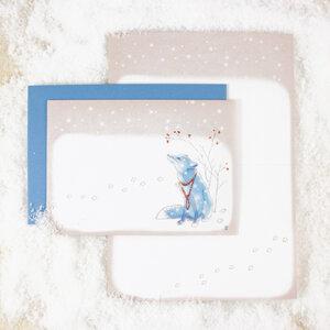 Grußkarte Fuchs im Schnee - Bow & Hummingbird