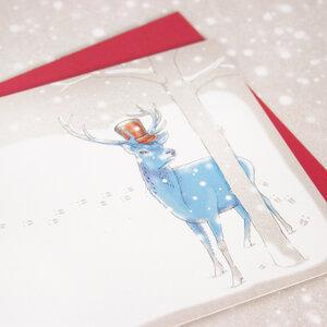 Grußkarte Hirsch im Schnee - Bow & Hummingbird