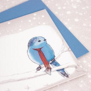 Grußkarte Vogel im Schnee - Bow & Hummingbird