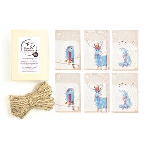 Geschenkanhänger Tiere im Schnee - Bow & Hummingbird