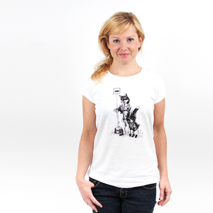 Foxes at the Bus Stop - Printshirt Frauen aus Biobaumwolle - Coromandel