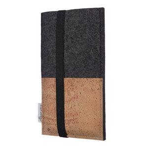 Schutzhülle SINTRA natur für Handys - 100% Wollfilz - dunkelgrau => genaues Modell bei der Bestellung angeben - flat.design