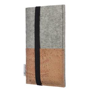 Schutzhülle SINTRA natur für Handys - 100% Wollfilz - hellgrau => genaues Modell bei der Bestellung angeben - flat.design