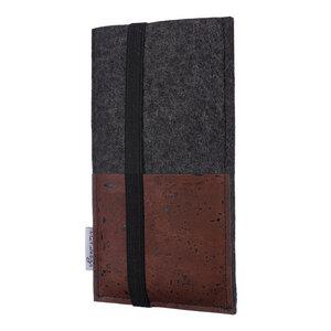 Handyhülle SINTRA braun für Huawei P-Serie - 100 % Wollfilz - dunkelgrau - Filz Tasche - flat.design