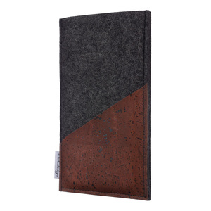Handyhülle EVORA braun (diagonal) für Apple iPhone - 100% Wollfilz - dunkelgrau - flat.design