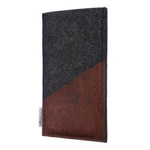 Schutzhülle EVORA Korktasche braun (diagonal) für Handys - 100% Wollfilz - dunkelgrau => genaues Modell bei der Bestellung angeben - flat.design