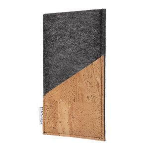 Schutzhülle EVORA Korktasche natur (diagonal) für Handys - 100% Wollfilz - dunkelgrau => genaues Modell bei der Bestellung angeben - flat.design