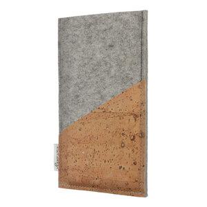 Schutzhülle EVORA Korktasche natur (diagonal) für Handys - 100% Wollfilz - hellgrau => genaues Modell bei der Bestellung angeben - flat.design