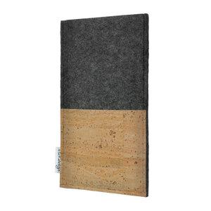 Schutzhülle EVORA Korktasche natur für Handys - 100% Wollfilz - dunkelgrau => genaues Modell bei der Bestellung angeben - flat.design