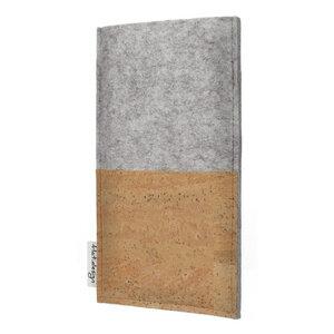Schutzhülle EVORA Korktasche natur für Handys - 100% Wollfilz - hellgrau => genaues Modell bei der Bestellung angeben - flat.design