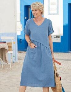 Leinen-Kleid Rabna mit V-Ausschnitt - aus 100% Deerberg-Leinen - Deerberg