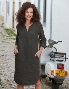 Leinen-Kleid Gudrid mit 3/4-Arm - aus 100% Deerberg-Leinen - Deerberg
