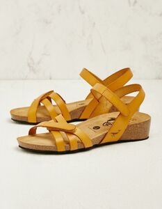 Leder-Sandalen mit Klettverschluss-Riemchen und gepolstertem Fußbett - Plakton