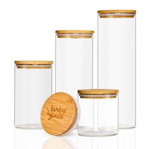 XL Set Vorratsgläser aus Glas mit Deckel aus 100% Bambus - in 4 Größen - Bambuswald