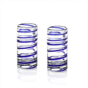 Schnapsglas 2er Set blau spiral, Mundgeblasenes Glas - Mitienda Shop