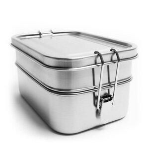 Große Edelstahl Doppel-Lunchbox | Trennwand | 1.960 ml - samebutgreen