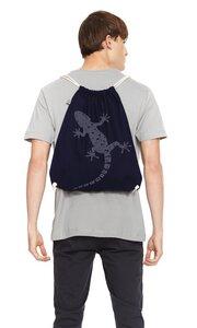 Turnbeutel Fahrrad / Gym Bag Gecko/ Rucksack in Navy & Blau aus Biobaumwolle - Picopoc