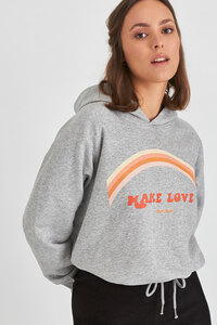 Kuscheliger Hoodie innen flauschig - MAKE LOVE - not war - Kultgut