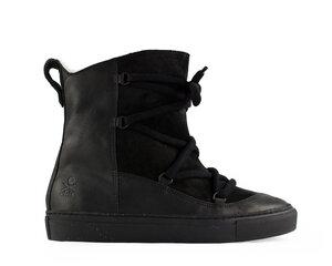 wildflower / schwarzes leder / wollfutter / schwarze sohle - ekn footwear