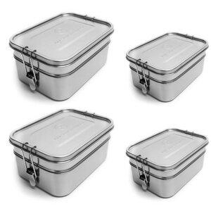 Familienpaket: Edelstahl Doppel-Lunchboxen | 2x groß und 2x klein - samebutgreen