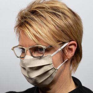 Mund-Nasen-Maske für Brillenträger aus Bioleinen - nahtur-design